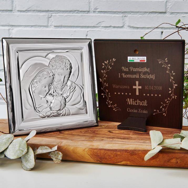 Komunia Krzyż - Święta Rodzina - Kwadrat - Srebrny Obrazek z Grawerem