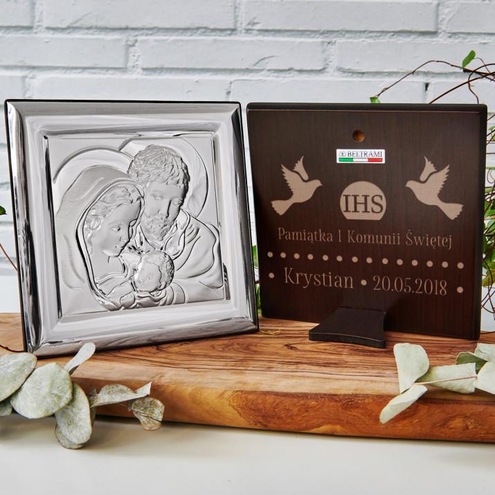 Komunia - Święta Rodzina - Kwadrat - Srebrny Obrazek z Grawerem