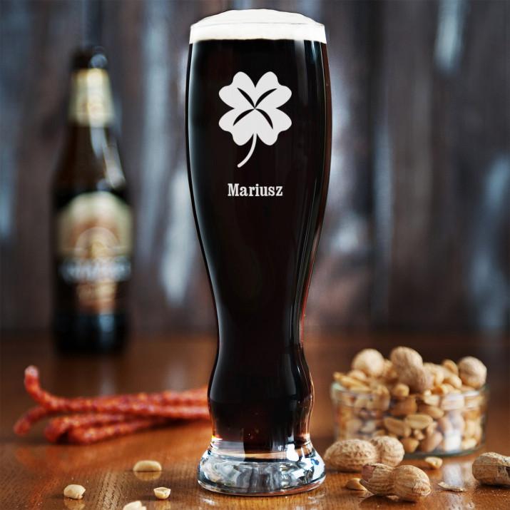 Koniczyna - Grawerowana Szklana do piwa