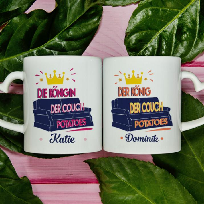 König und Königin der Couch Potatoes - Tassen für Paare