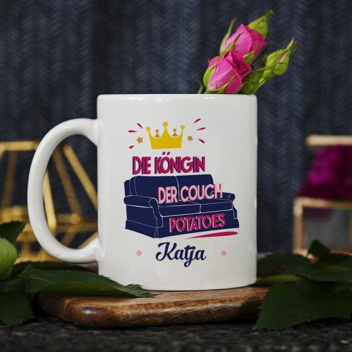 Königin der Couch Potatoes - personalisirte Tasse