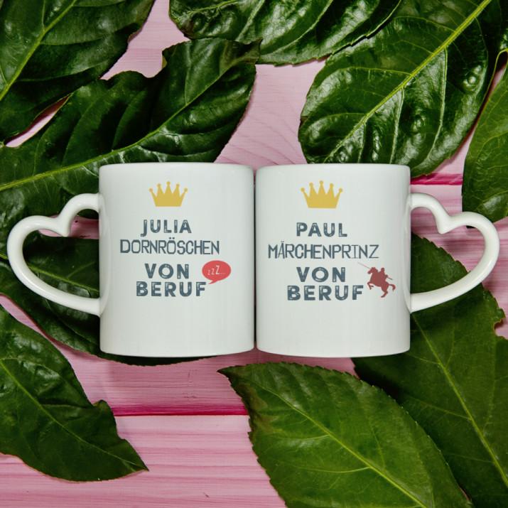 Dornröschen und Märchenprinz - Tassen für Paare
