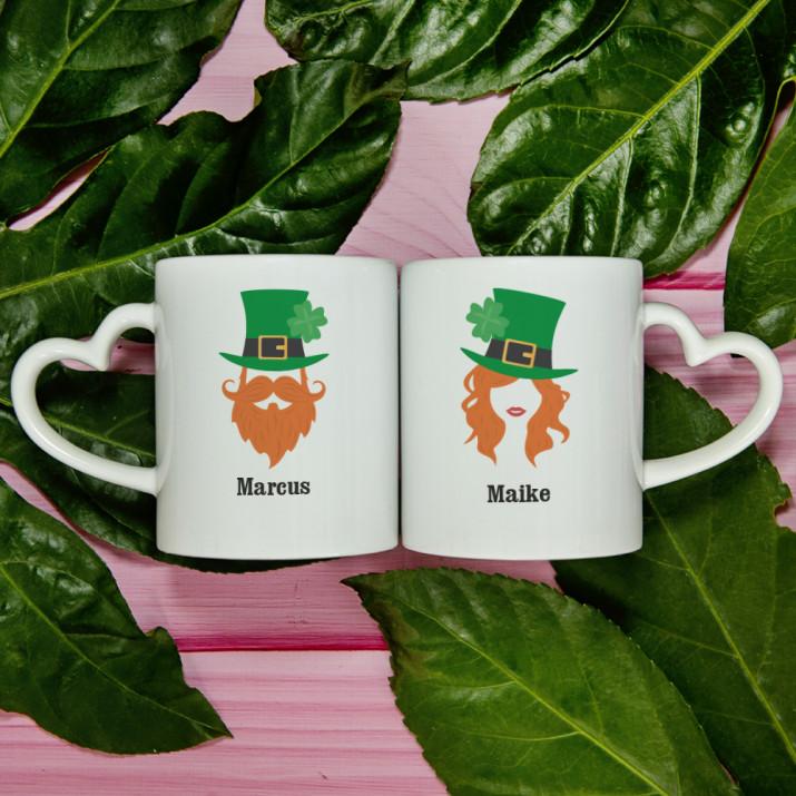 Leprechaun Mann und Frau - Tassen für Paare