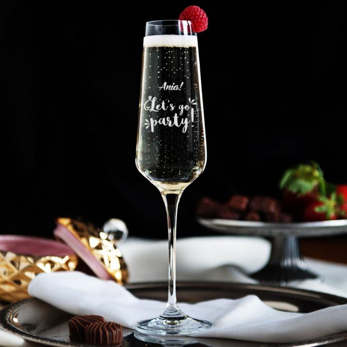 Let`s go party! - Grawerowany Kieliszek do szampana