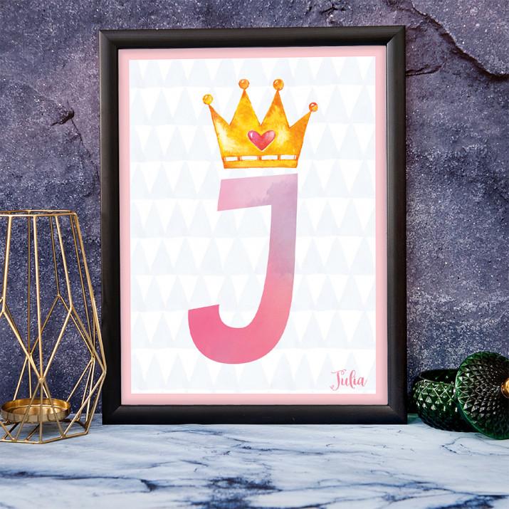 Buchstabe Krone - Kunstdruck mit Rahmen