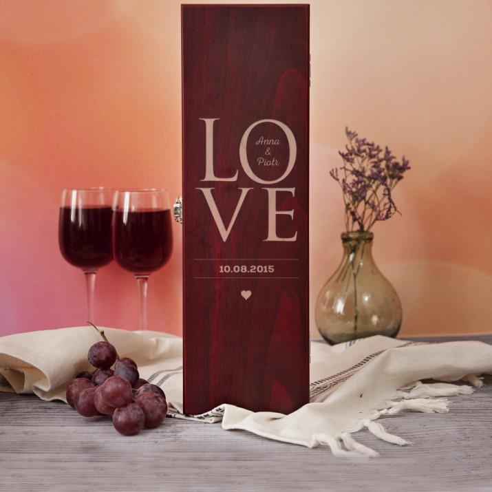 Love - Skrzynka na wino z akcesoriami