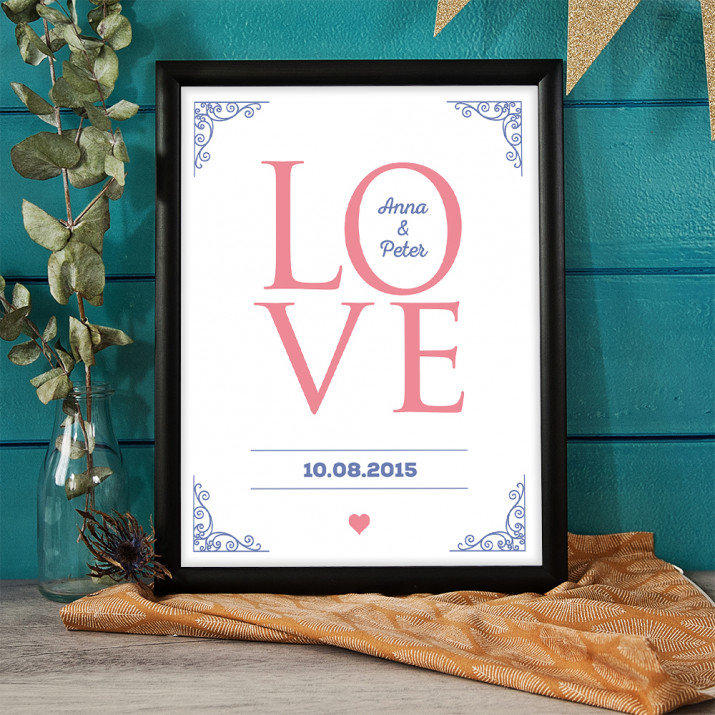 Love together - Kunstdruck mit Rahmen
