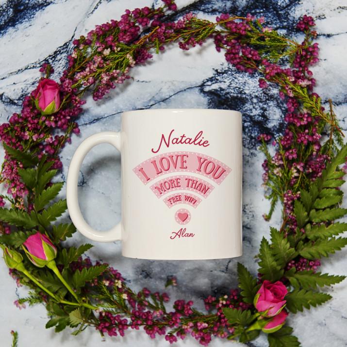 Love you more than wifi - personalisierte Tasse