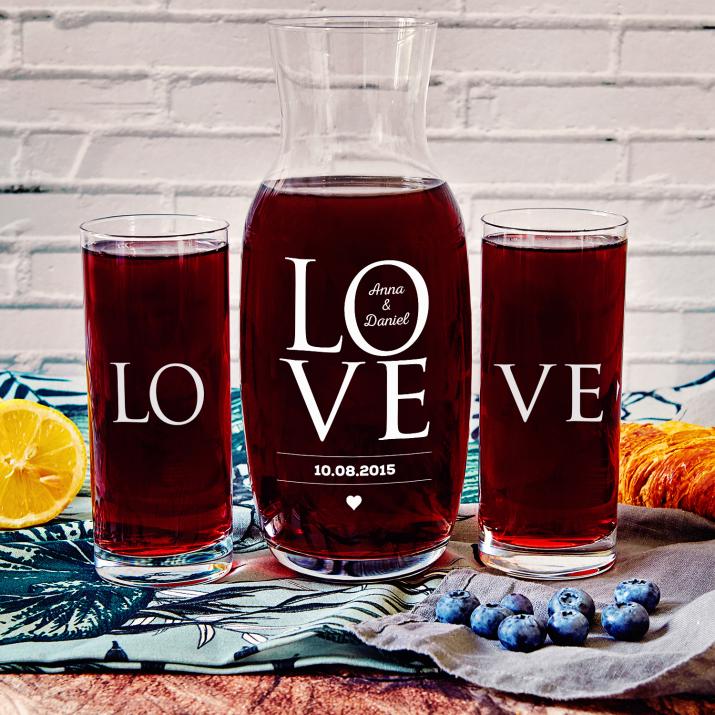 LOVE - Zestaw grawerowana karafka i dwie szklanki