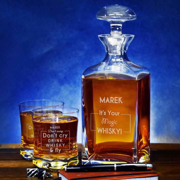 Magic Whisky - Zestaw Grawerowana Karafka I Szklanki Do Whisky