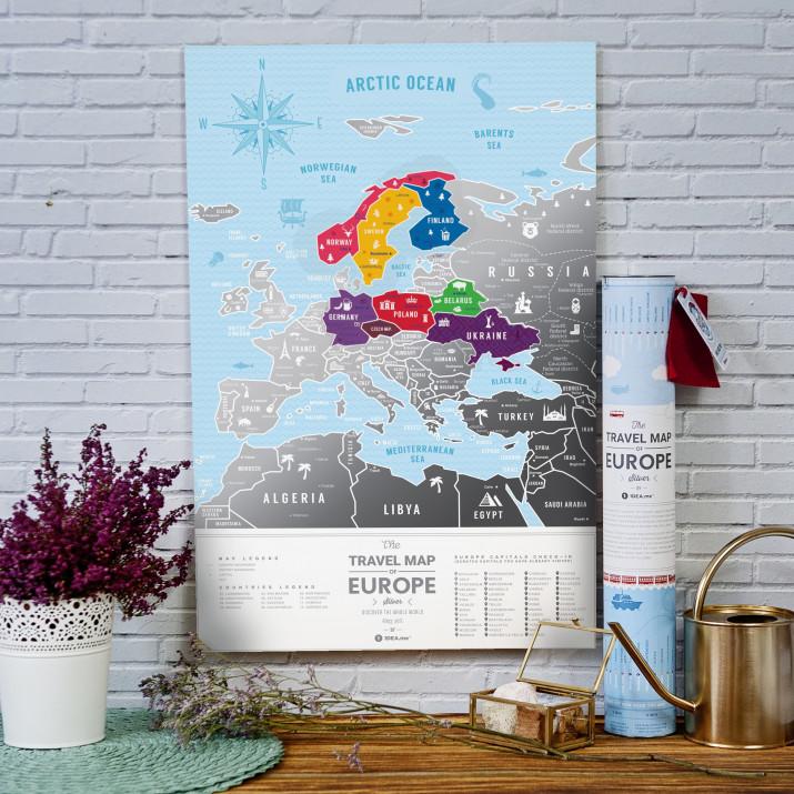 MAPA ZDRAPKA EUROPA Travel Map™ Silver Europe