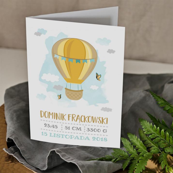 Metryczka balon - kartka składana z życzeniami
