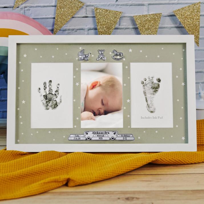 Metryczka urodzenia - Ramka z odciskiem rączki i stópki