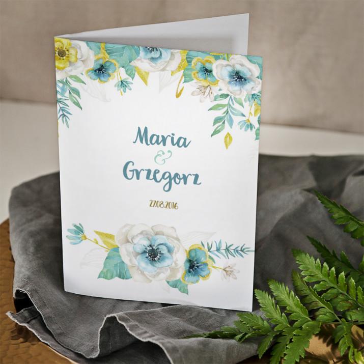 Miętowe kwiaty - kartka z życzeniami