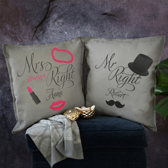 Mr i Mrs Right - Zestaw Dwóch Poduszek Dekoracyjnych