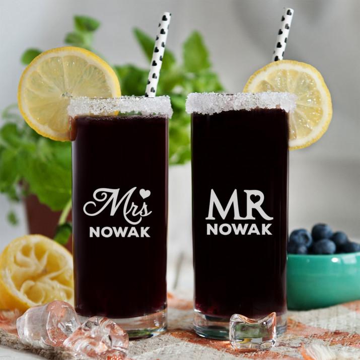 Mr&Mrs - Dwie grawerowane szklanki
