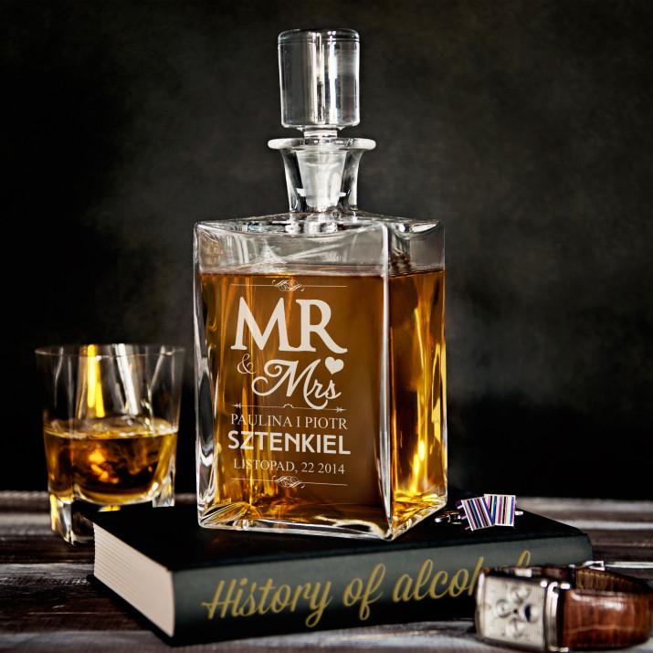 Mr Mrs - grawerowana karafka do whisky