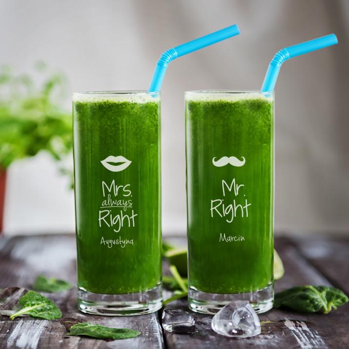 Mr&Mrs right - Dwie grawerowane szklanki