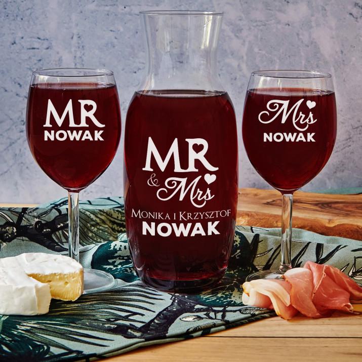Mr&Mrs - Zestaw grawerowana karafka i dwa kieliszki do wina