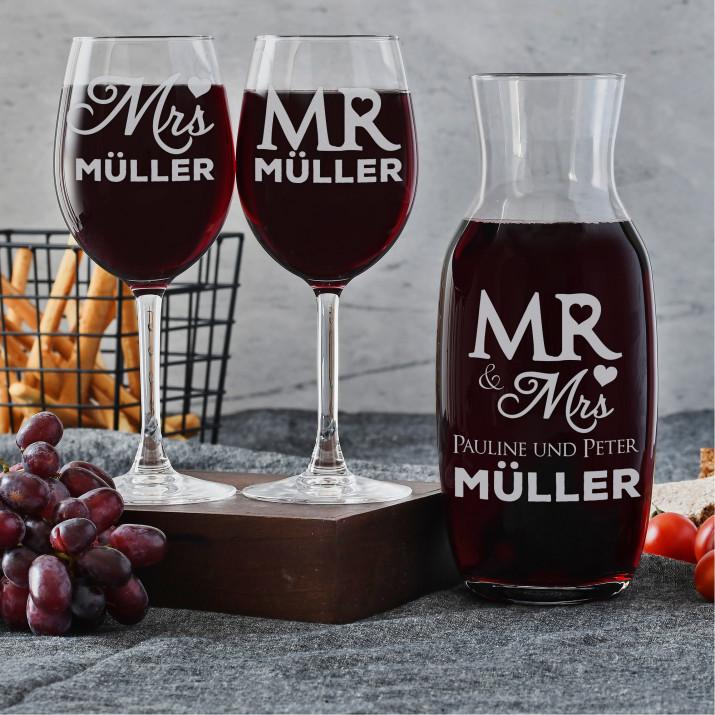 Mr & Mrs - Weinkaraffe und zwei Weingläser - Set mit Gravur