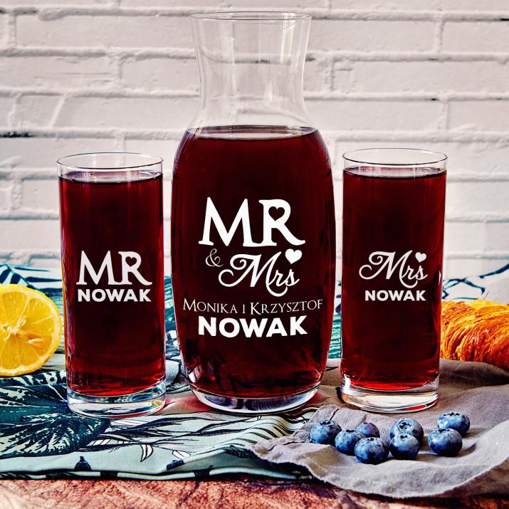 Mr&Mrs - Zestaw grawerowana karafka i dwie szklanki