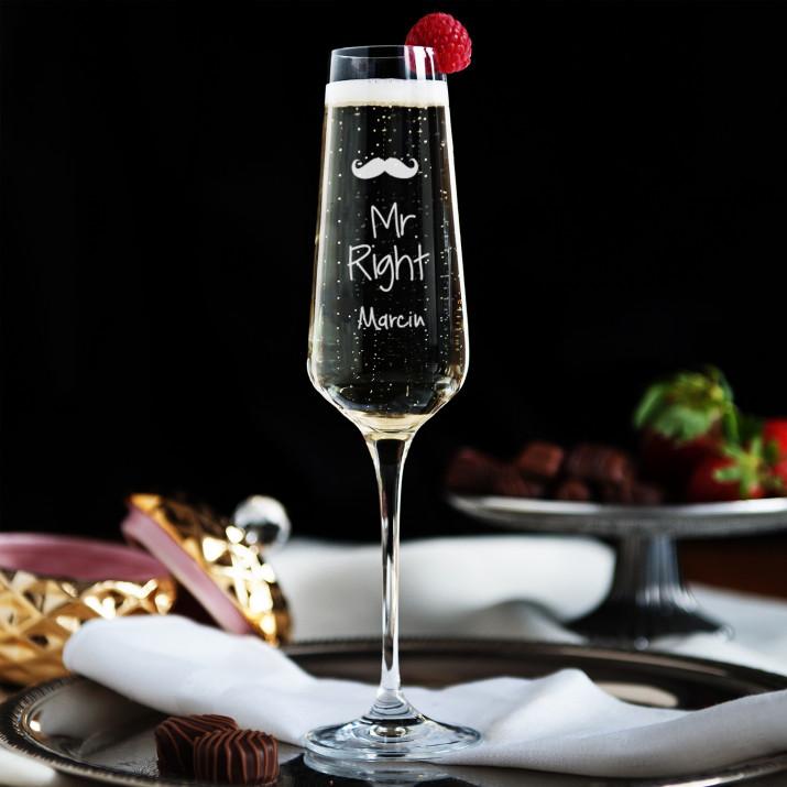 Mr Right - Grawerowany Kieliszek do szampana