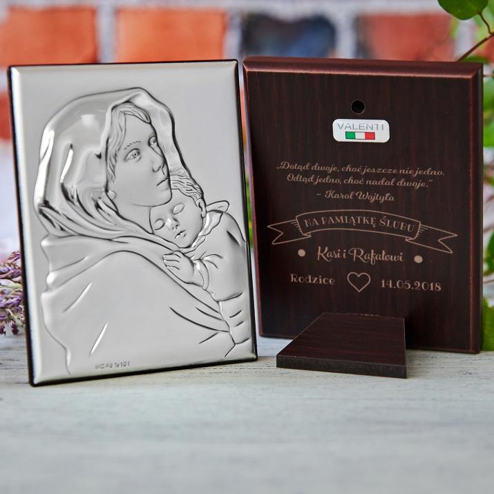 Na pamiątkę ślubu - Matka Boska - Srebrny Obrazek z Grawerem
