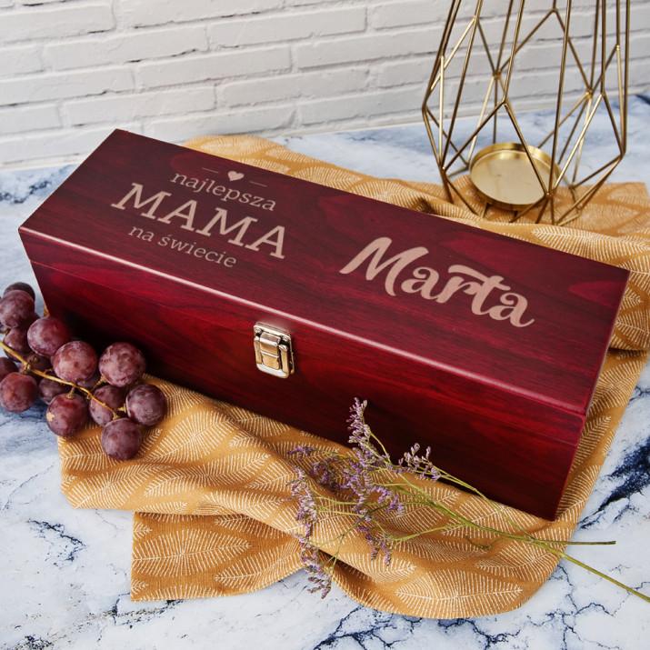 Najlepsza mama - Skrzynka na wino z akcesoriami