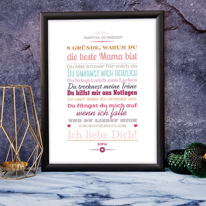 Beste Mama - Kunstdruck mit Rahmen