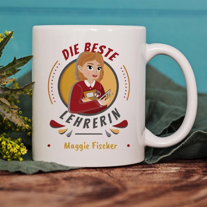 Beste Lehrerin - personalisierte Tasse