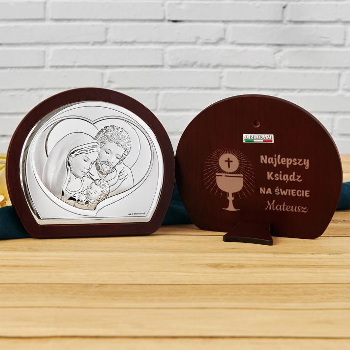 Najlepszy ksiądz - Św. Rodzina - Półkole - Srebrny Obrazek z Grawerem