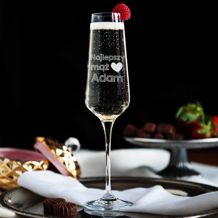 Najlepszy mąż - Grawerowany Kieliszek  do szampana