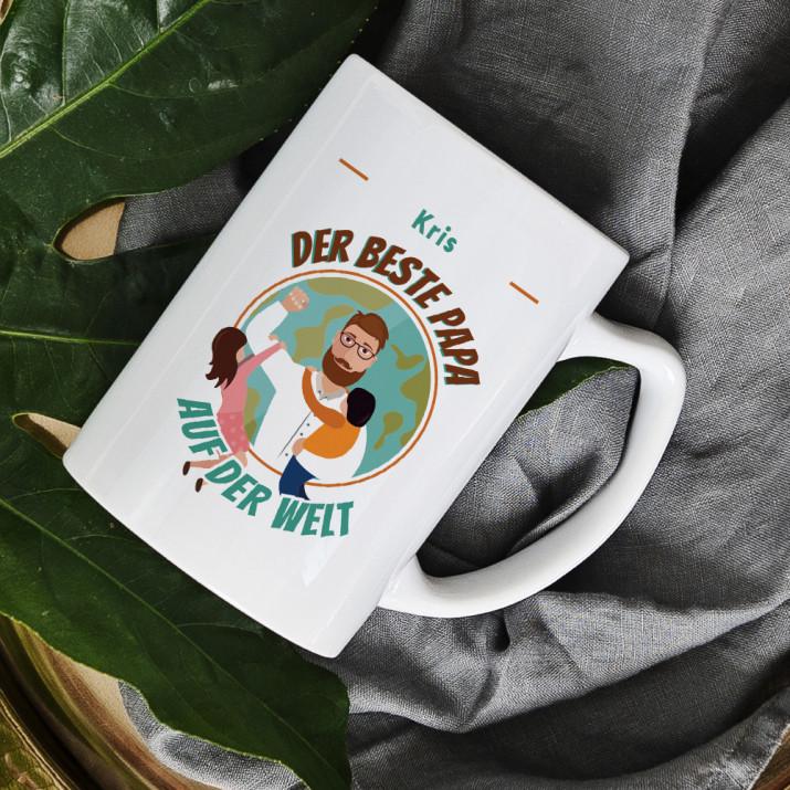 Bester Papa der Welt - personalisierte Tasse
