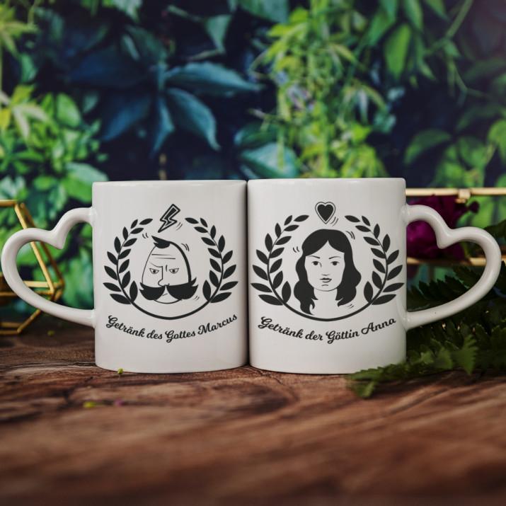 Gott und Göttin - Tassen für Paare