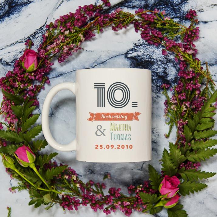 Unser Hochzeitstag - Personalisierte Tasse
