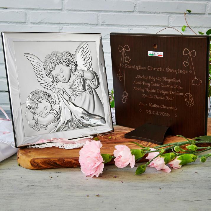 Niechaj Bóg Cię Błogosławi - Aniołek z latarenką - Srebrny Obrazek z Grawerem