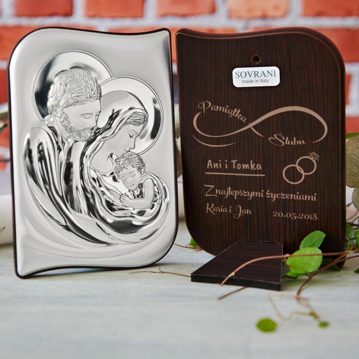 Nieskończona miłość - Św. Rodzina - Srebrny Obrazek z Grawerem