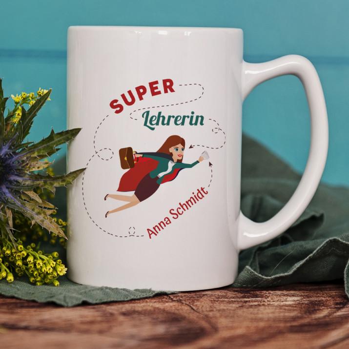 Super Lehrerin - Personalisierte Tasse