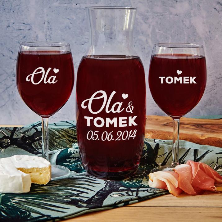 Ona i On - Zestaw grawerowana karafka i dwa kieliszki do wina