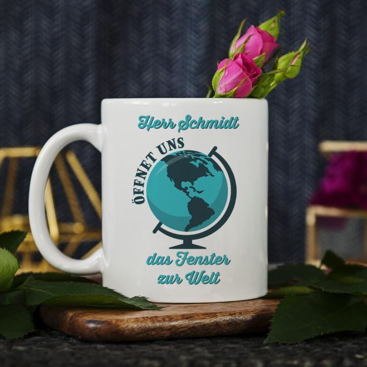 Öffnet das Fenster zur Welt - personalisierte Tasse