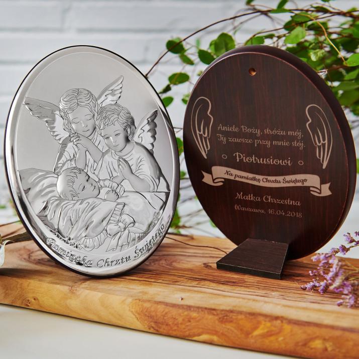 Aniele Boży - Anioł stróż - Srebrny Obrazek z Grawerem