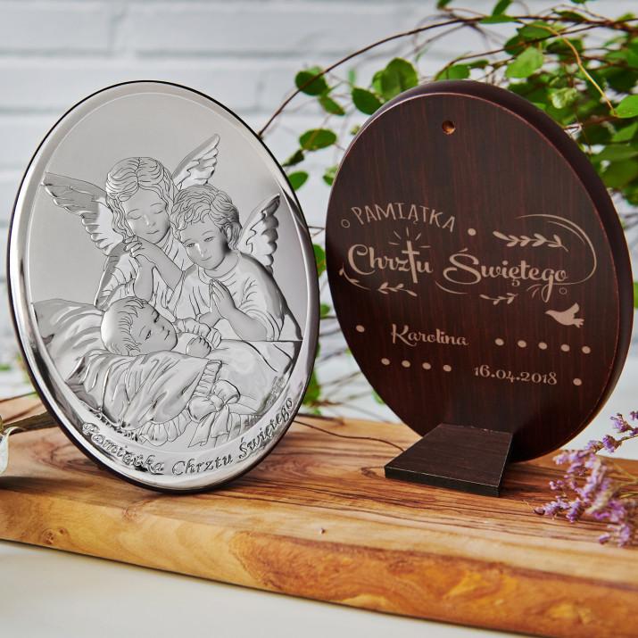 Pamiątka chrztu - Anioł stróż - Srebrny Obrazek z Grawerem