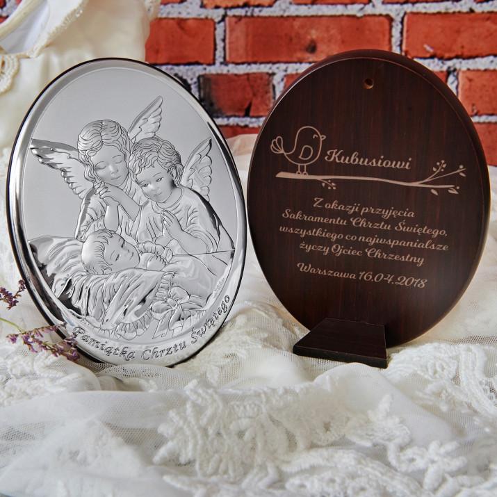 Sakrament chrztu - Anioł stróż - Srebrny Obrazek z Grawerem
