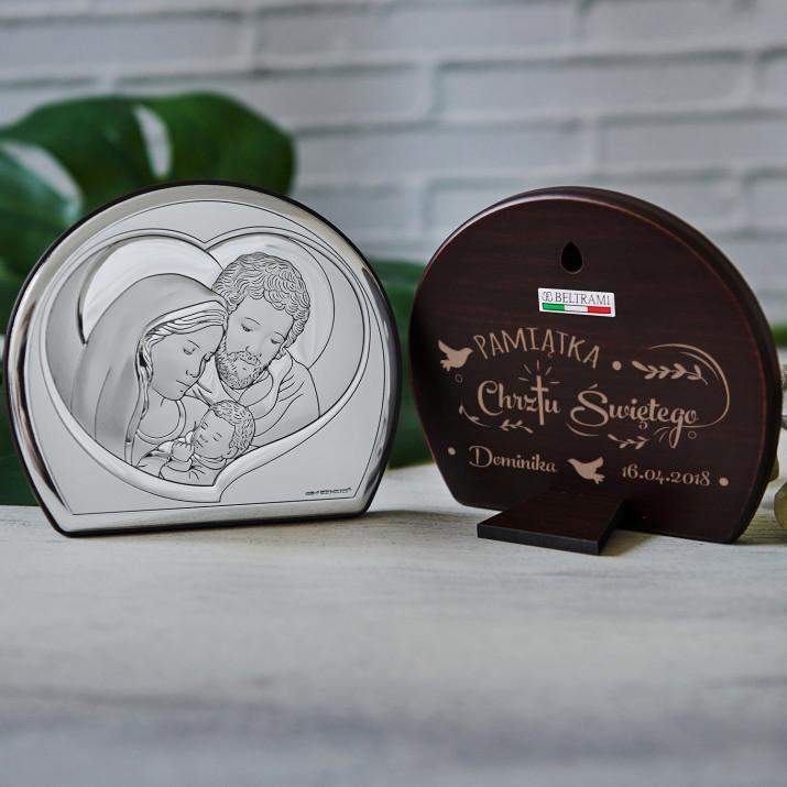 Pamiątka Chrztu - Św. Rodzina - Półkole - Srebrny Obrazek z Grawerem