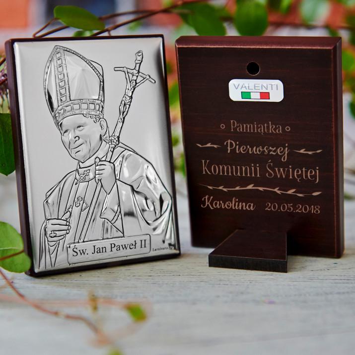 Pamiątka Komunii - Papież - Srebrny Obrazek z Grawerem
