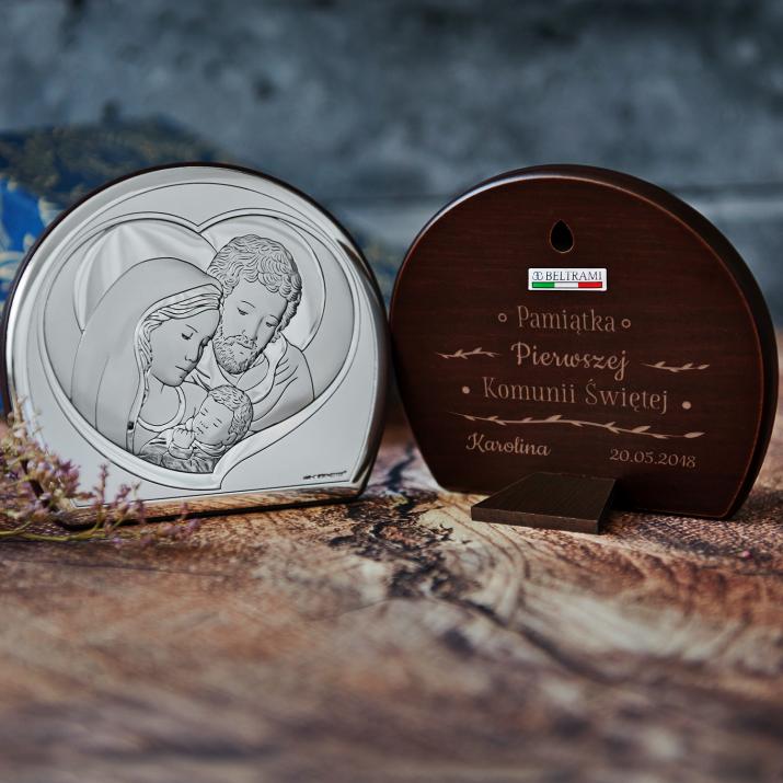 Pamiątka Komunii - Św. Rodzina - Półkole - Srebrny Obrazek z Grawerem