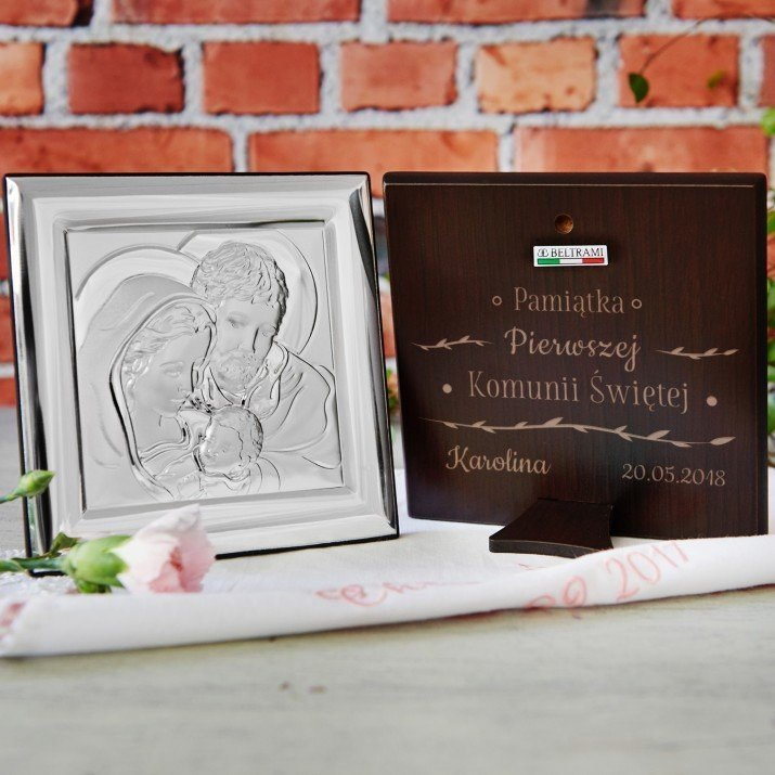 Pamiątka Komunii - Święta Rodzina - Kwadrat - Srebrny Obrazek z Grawerem