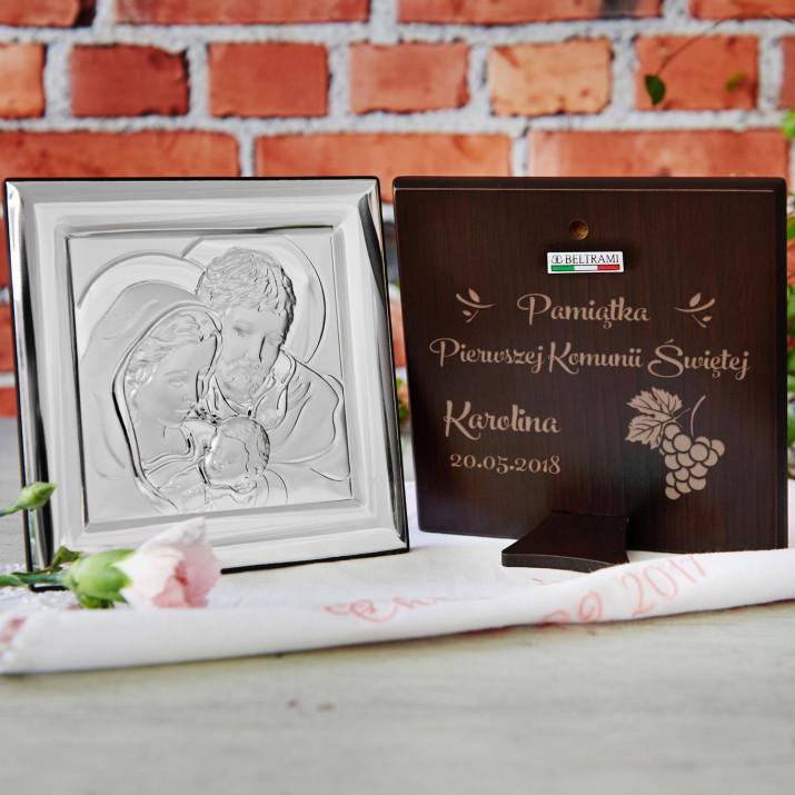 Pamiątka Pierwszej Komunii - Święta Rodzina - Kwadrat - Srebrny Obrazek z Grawerem