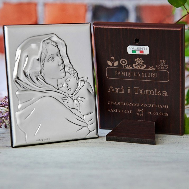 Pamiątka ślubu - Matka Boska - Srebrny Obrazek z Grawerem
