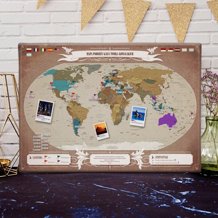 Personalizowana Mapa Podróży na płótnie: Świat